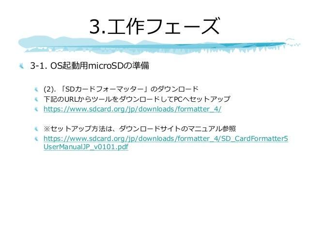 3-1. OS起動⽤microSDの準備 (2). 「SDカードフォーマッター」のダウンロード 下記のURLからツールをダウンロードしてPCへセットアップ https://www.sdcard.org/jp/downloads/formatte...