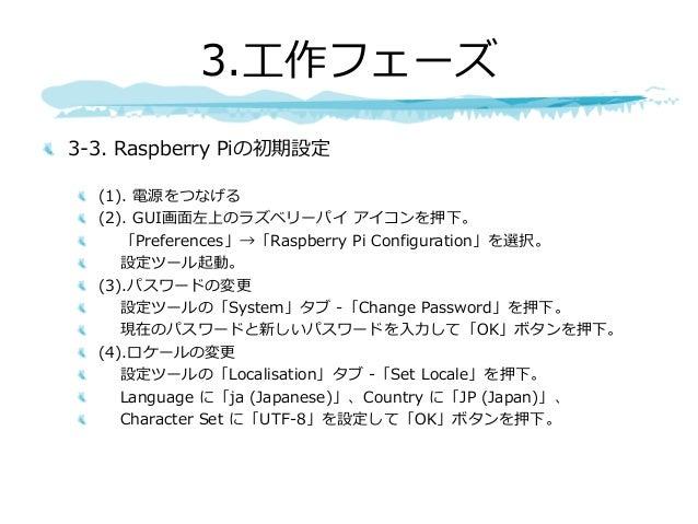 3-3. Raspberry Piの初期設定 (1). 電源をつなげる (2). GUI画⾯左上のラズベリーパイ アイコンを押下。 「Preferences」→「Raspberry Pi Configuration」を選択。 設定ツール起動。 ...