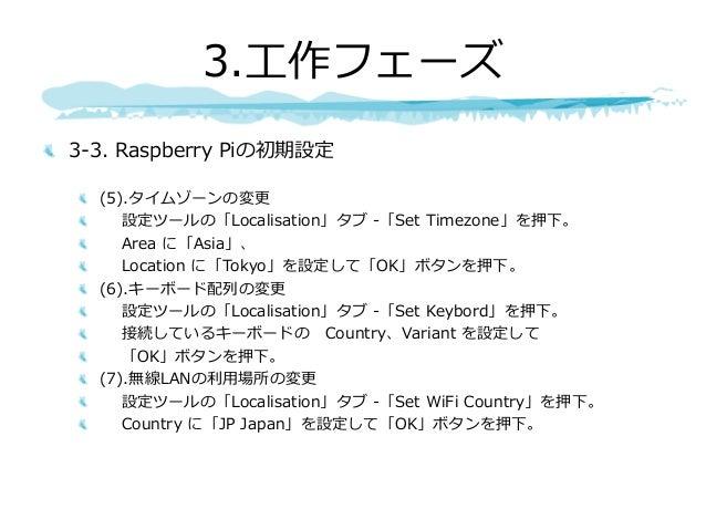 3-3. Raspberry Piの初期設定 (5).タイムゾーンの変更 設定ツールの「Localisation」タブ -「Set Timezone」を押下。 Area に「Asia」、 Location に「Tokyo」を設定して「OK」ボタ...