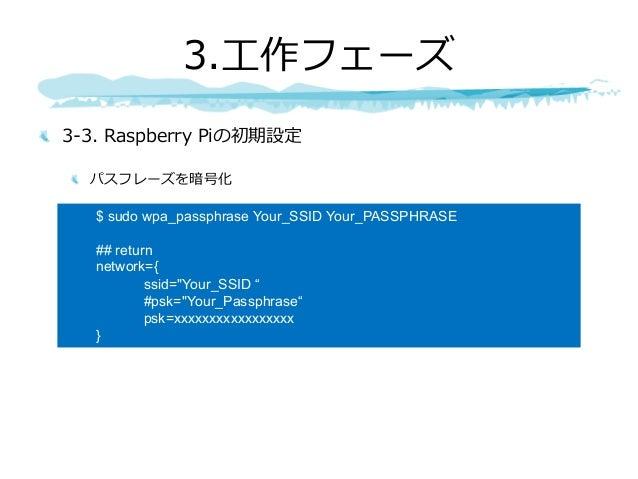 """3-3. Raspberry Piの初期設定 パスフレーズを暗号化 3.⼯作フェーズ $ sudo wpa_passphrase Your_SSID Your_PASSPHRASE ## return network={ ssid=""""Your_..."""