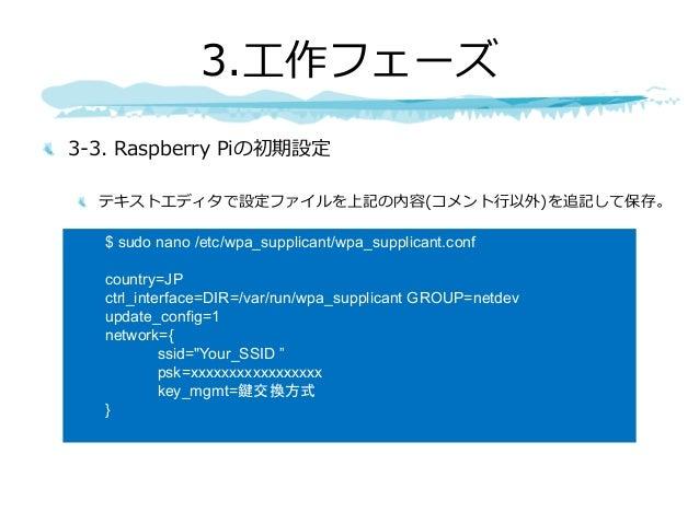 3-3. Raspberry Piの初期設定 テキストエディタで設定ファイルを上記の内容(コメント⾏以外)を追記して保存。 3.⼯作フェーズ $ sudo nano /etc/wpa_supplicant/wpa_supplicant.conf...