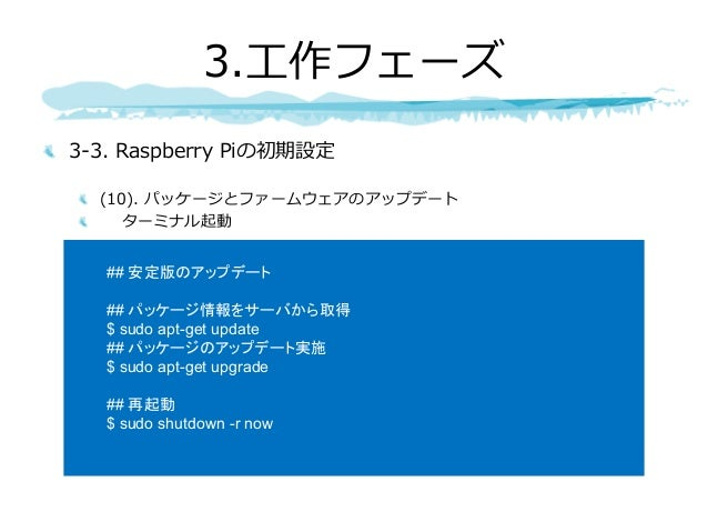 3-3. Raspberry Piの初期設定 (10). パッケージとファームウェアのアップデート ターミナル起動 3.⼯作フェーズ ## 安定版のアップデート ## パッケージ情報をサーバから取得 $ sudo apt-get update ...