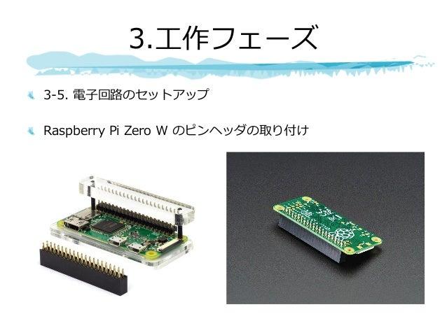 3-5. 電⼦回路のセットアップ Raspberry Pi Zero W のピンヘッダの取り付け 3.⼯作フェーズ