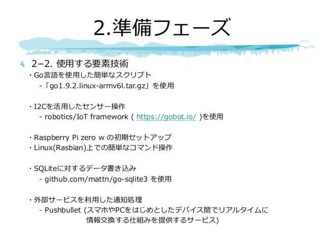 22. 使⽤する要素技術 ・Go⾔語を使⽤した簡単なスクリプト -「go1.9.2.linux-armv6l.tar.gz」を使⽤ ・I2Cを活⽤したセンサー操作 - robotics/IoT framework ( https://gobo...