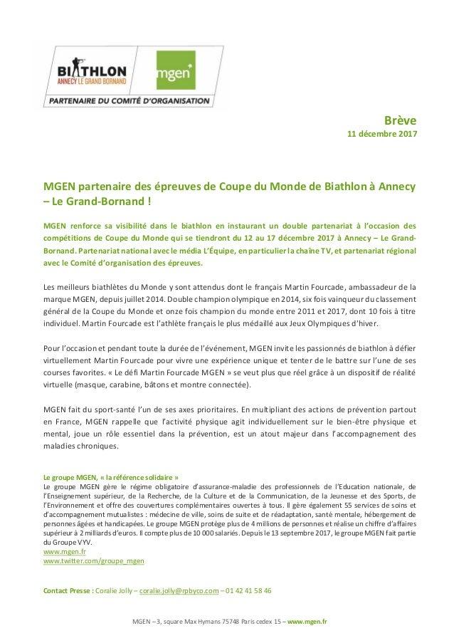 MGEN – 3, square Max Hymans 75748 Paris cedex 15 – www.mgen.fr Brève 11 décembre 2017 MGEN partenaire des épreuves de Coup...