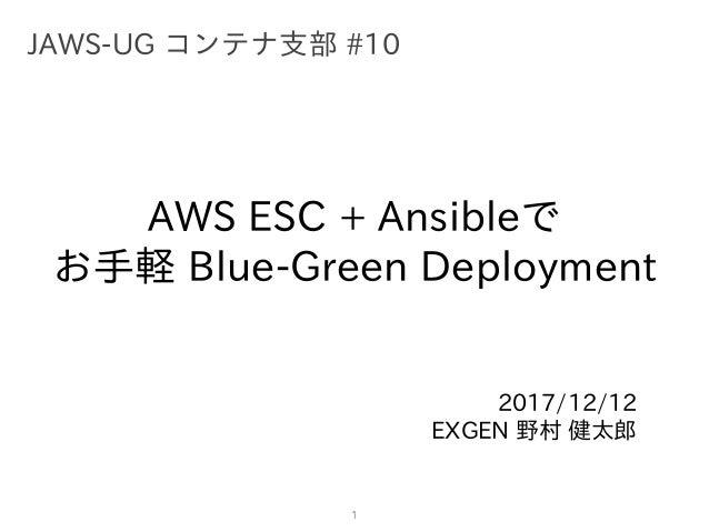 AWS ESC + Ansibleで お⼿軽 Blue-Green Deployment 2017/12/12 EXGEN 野村 健太郎 1 JAWS-UG コンテナ⽀部 #10
