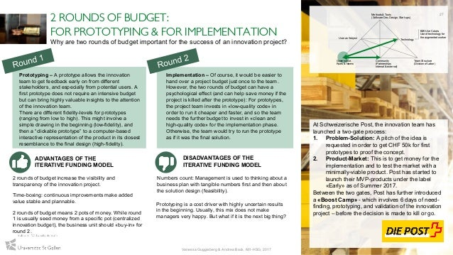 2 ROUNDS OF BUDGET: FOR PROTOTYPING & FOR IMPLEMENTATION At Schweizerische Post, the innovation team has launched a two-ga...