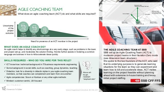 THE AGILE COACHING TEAM AT SBB SBB set up an Agile Coaching Team (ACT) to moderate project teams in their Iteration Zero m...