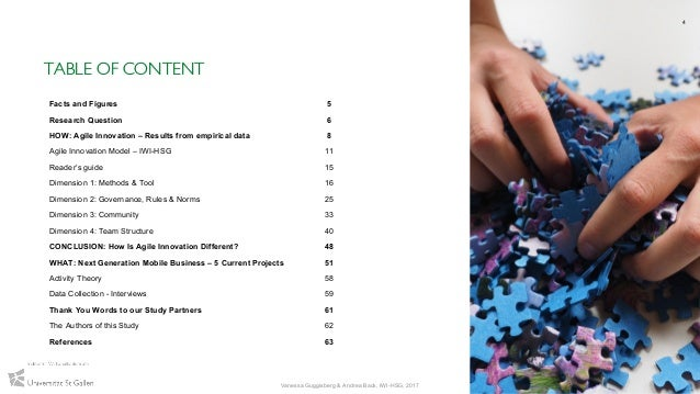 TABLE OF CONTENT 4 Vanessa Guggisberg & Andrea Back, IWI-HSG, 2017 Facts and Figures 5 Research Question 6 HOW: Agile Inno...