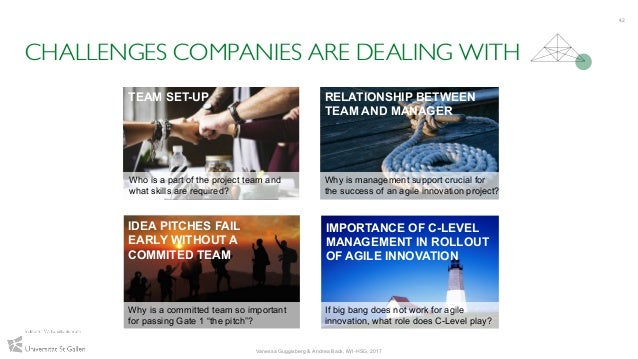 CHALLENGES COMPANIES ARE DEALING WITH 42 TEAM SET-UP RELATIONSHIP BETWEEN TEAM AND MANAGER IDEA PITCHES FAIL EARLY WITHOUT...