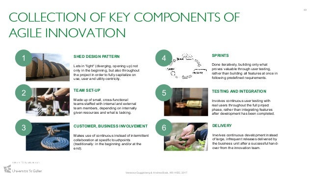 COLLECTION OF KEY COMPONENTS OF AGILE INNOVATION 49 Vanessa Guggisberg & Andrea Back, IWI-HSG, 2017 SHED DESIGN PATTERN Le...