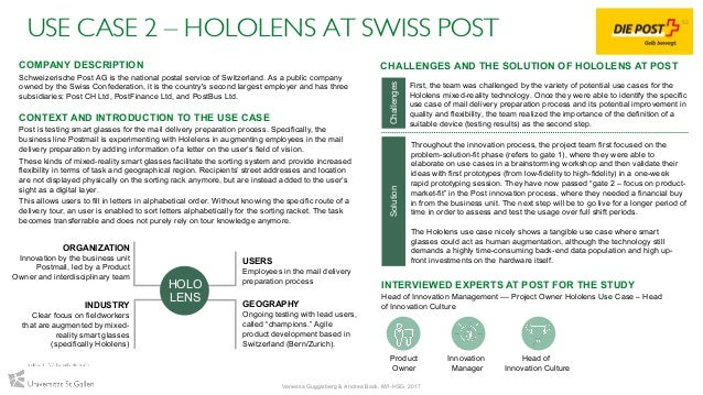 USE CASE 2 – HOLOLENS AT SWISS POST INTERVIEWED EXPERTS AT POST FOR THE STUDY Head of Innovation Management –– Project Own...