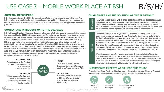 USE CASE 3 – MOBILE WORK PLACE AT BSH INTERVIEWED EXPERTS AT BSH FOR THE STUDY Project owner (App-Family for Fieldworkers)...