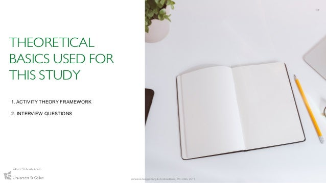 THEORETICAL BASICS USED FOR THIS STUDY 57 Vanessa Guggisberg & Andrea Back, IWI-HSG, 2017 1. ACTIVITY THEORY FRAMEWORK 2. ...