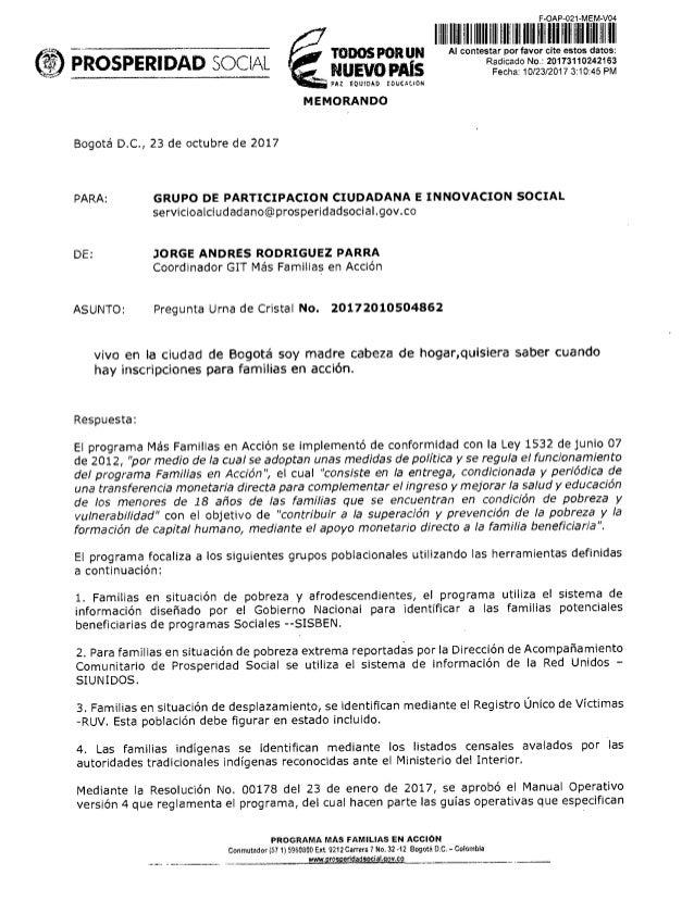 PROSPERIDAD SOCIAL Topos portuN HIJA i1012111111 NUEVO PAÍS PAZ EQUIDAD EDUCAZION Radicado No.: 2017 110242 63 Fecha: 10...