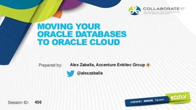 Session ID: Prepared by: MOVING YOUR ORACLE DATABASES TO ORACLE CLOUD 456 Alex Zaballa, Accenture Enkitec Group @alexzabal...