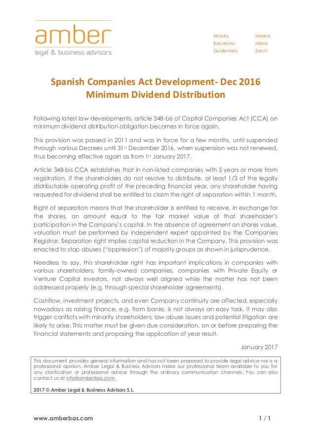 Atlanta Barcelona Guatemala Madrid Miami Zurich www.amberbas.com 1 / 1 Spanish Companies Act Development- Dec 2016 Minimum...