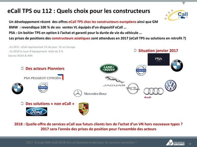 12 eCall TPS ou 112 : Quels choix pour les constructeurs Un développement récent des offres eCall TPS chez les constructeu...