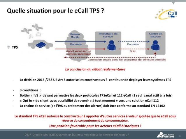 8 Quelle situation pour le eCall TPS ?  TPS 2017 Groupe IMA eCall 2018 vers un business model pour les services connectés...