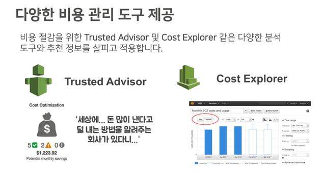 다양한 비용 관리 도구 제공 비용 절감을 위한 Trusted Advisor 및 Cost Explorer 같은 다양한 분석 도구와 추천 정보를 살피고 적용합니다.