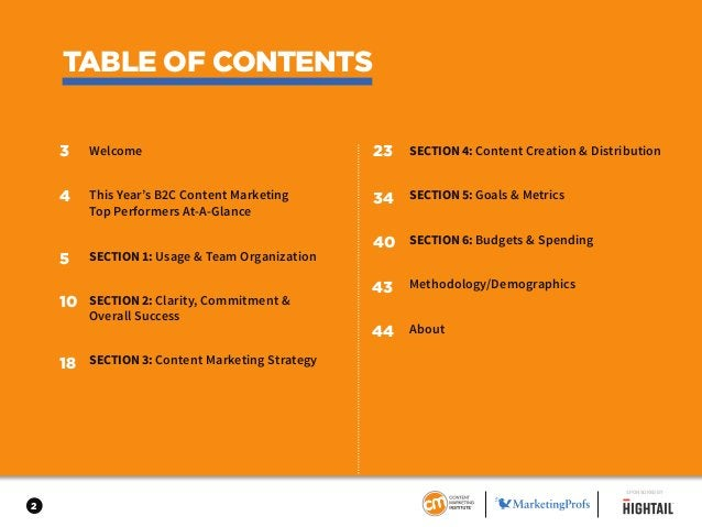 Welcome This Year's B2C Content Marketing Top Performers At-A-Glance SECTION1: Usage & Team Organization SECTION2: Clarity...