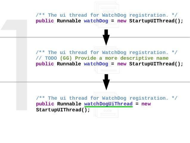 Review-triggered Change /** The ui thread for WatchDog registration. */ public Runnable watchDog = new StartupUIThread(); ...