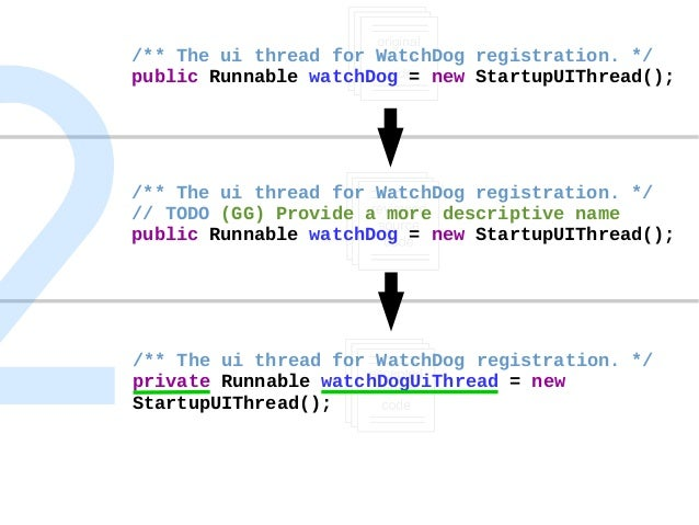 Self-motivated + Review-triggered Change /** The ui thread for WatchDog registration. */ public Runnable watchDog = new St...