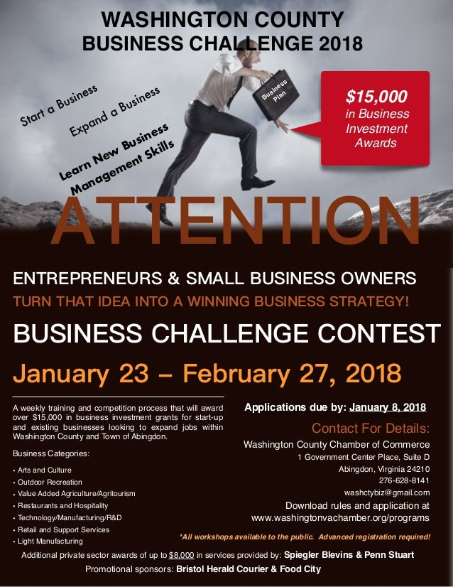 WASHINGTON COUNTY BUSINESS CHALLENGE 2018 *All workshops available to the public. Advanced registration required! Promotio...
