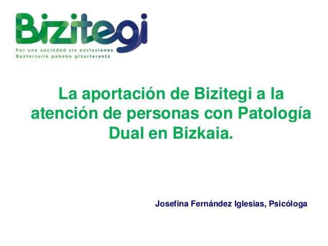 La aportación de Bizitegi a la atención de personas con Patología Dual en Bizkaia. Josefina Fernández Iglesias, Psicóloga