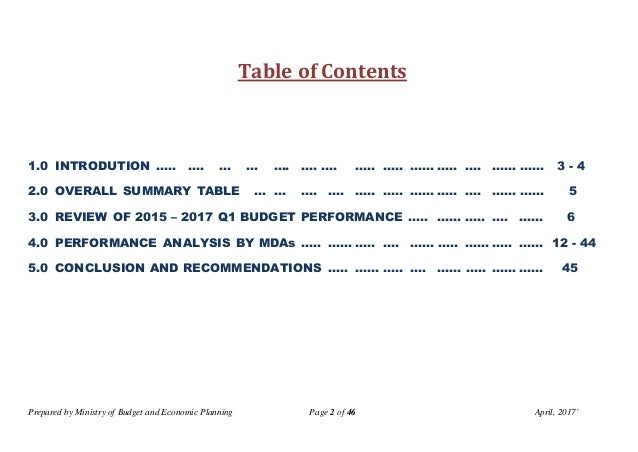 Prepared by Ministry of Budget and Economic Planning Page 2 of 46 April, 2017` Table of Contents 1.0 INTRODUTION ….. …. … ...
