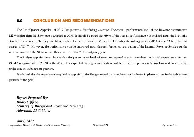 Prepared by Ministry of Budget and Economic Planning Page 46 of 46 April, 2017` 6.0 CONCLUSION AND RECOMMENDATIONS The Fir...