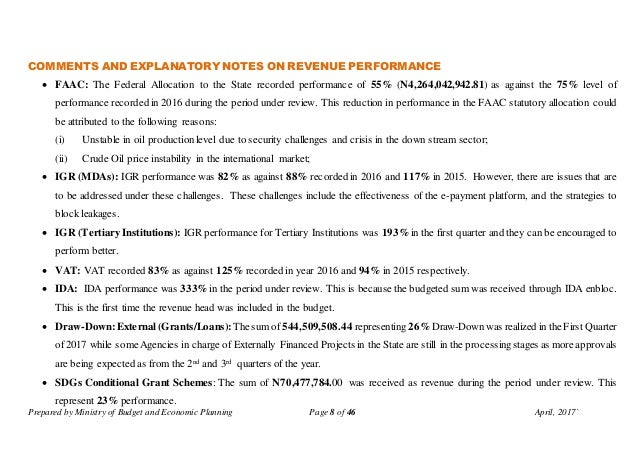 Prepared by Ministry of Budget and Economic Planning Page 8 of 46 April, 2017` COMMENTS AND EXPLANATORY NOTES ON REVENUE P...