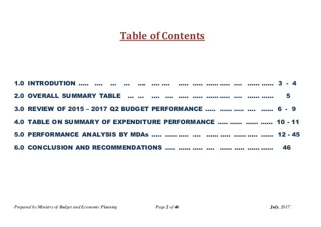 Prepared by Ministry of Budget and Economic Planning Page 2 of 46 July, 2017` Table of Contents 1.0 INTRODUTION ….. …. … …...