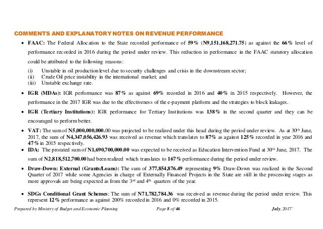 Prepared by Ministry of Budget and Economic Planning Page 8 of 46 July, 2017` COMMENTS AND EXPLANATORY NOTES ON REVENUE PE...
