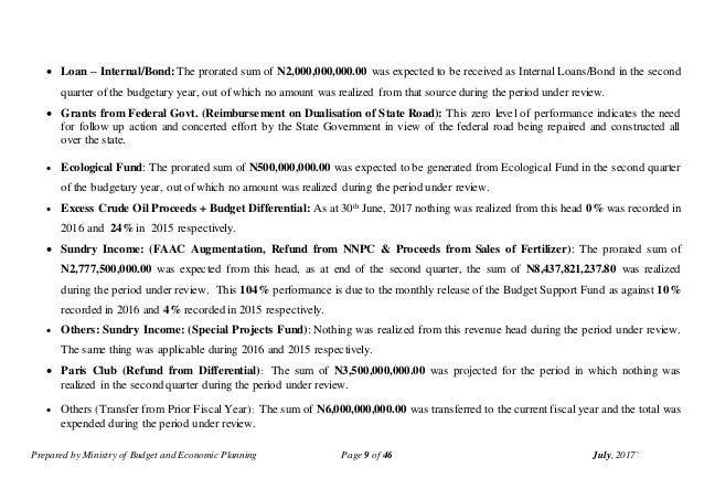 Prepared by Ministry of Budget and Economic Planning Page 9 of 46 July, 2017`  Loan – Internal/Bond: The prorated sum of ...