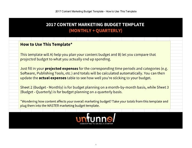 2017 content marketing budget excel template