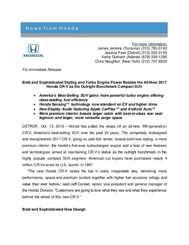 honda cr  press release