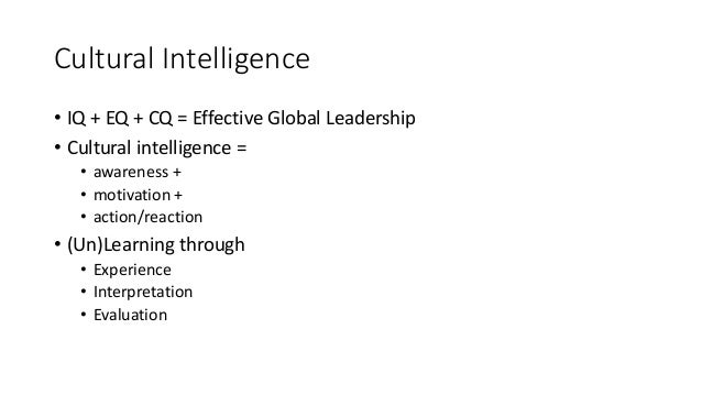 culture and cultural intelligence