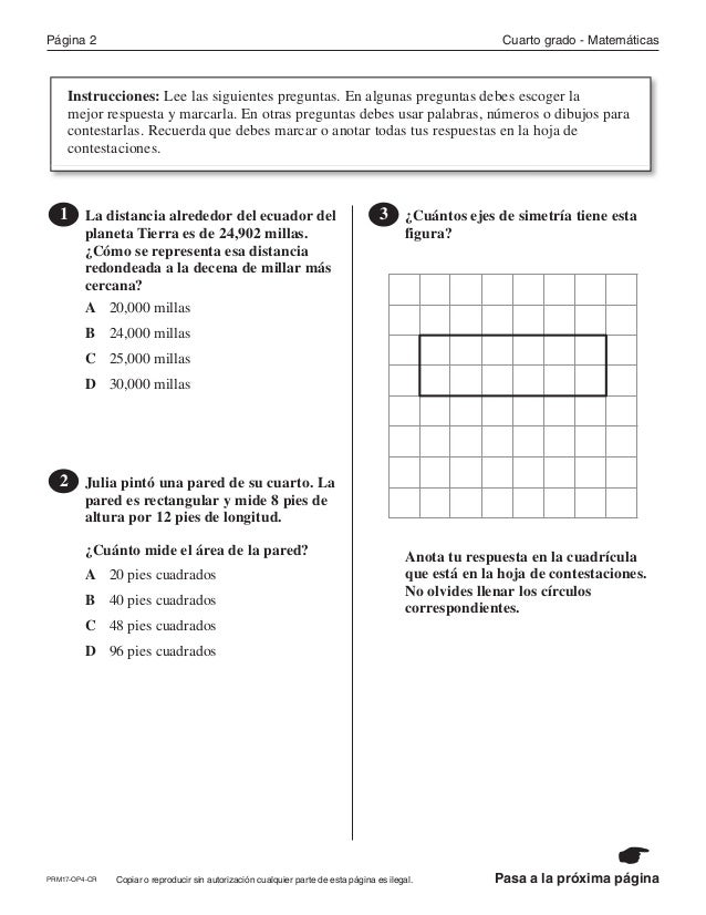 2017 ejercicios de practica matemáticas cuarto grado