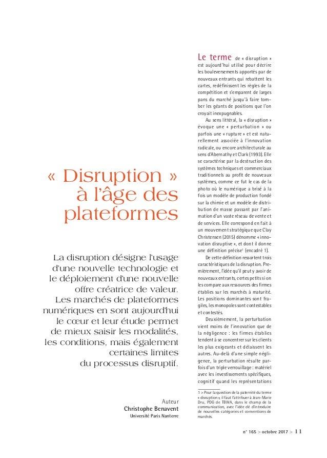 n° 165 > octobre 2017 > 11 Le terme de «disruption» est aujourd'hui utilisé pour décrire les bouleversements apportés pa...