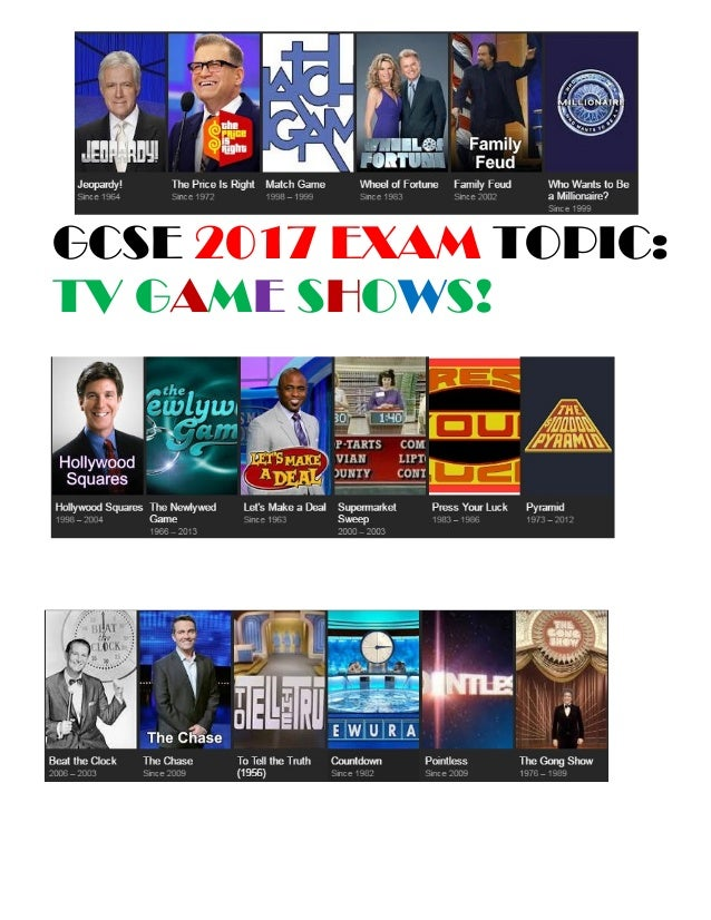 GCSE 2017 EXAM TOPIC: TV GAME SHOWS!