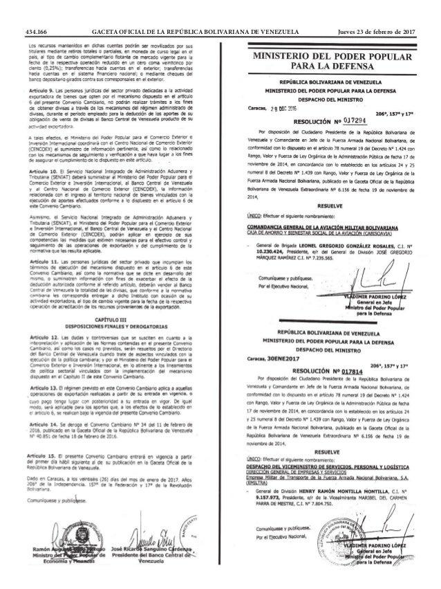 434.166 GACETA OFICIAL DE LA REPÚBLICA BOLIVARIANA DE VENEZUELA Jueves 23 de febrero de 2017
