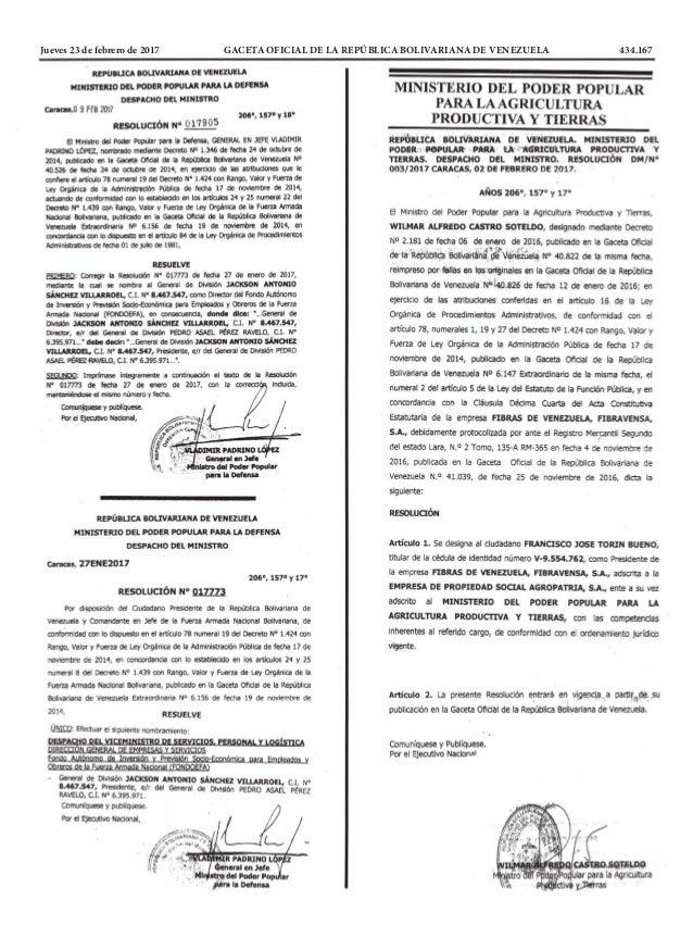 Jueves 23 de febrero de 2017 GACETA OFICIAL DE LA REPÚBLICA BOLIVARIANA DE VENEZUELA 434.167