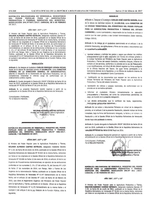 434.168 GACETA OFICIAL DE LA REPÚBLICA BOLIVARIANA DE VENEZUELA Jueves 23 de febrero de 2017