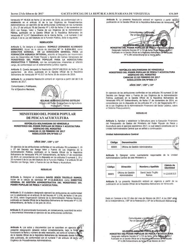 Jueves 23 de febrero de 2017 GACETA OFICIAL DE LA REPÚBLICA BOLIVARIANA DE VENEZUELA 434.169