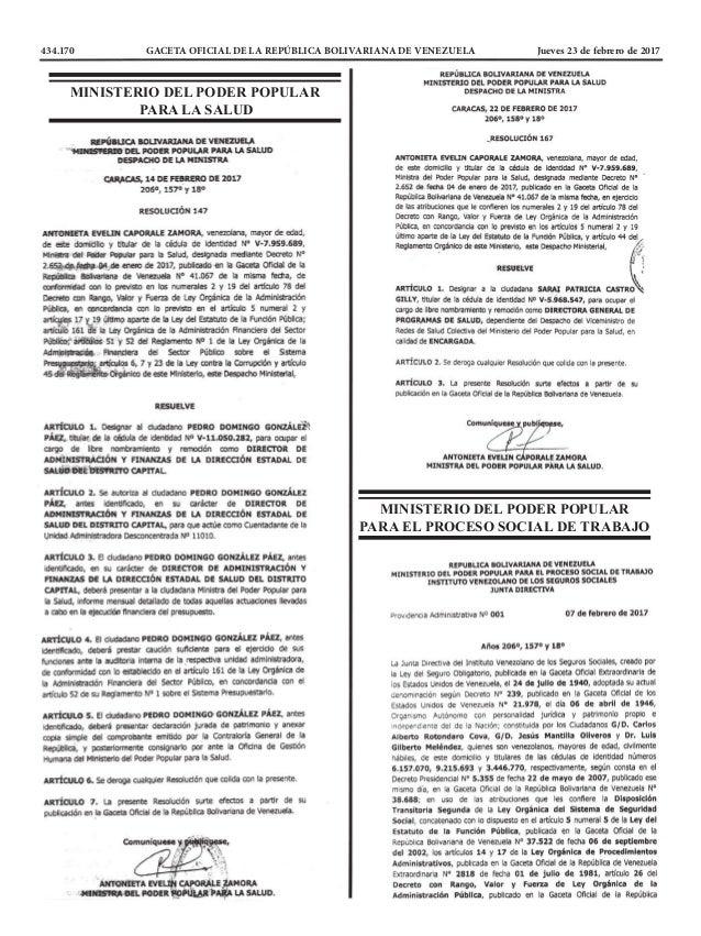 434.170 GACETA OFICIAL DE LA REPÚBLICA BOLIVARIANA DE VENEZUELA Jueves 23 de febrero de 2017 MINISTERIO DEL PODER POPULA...