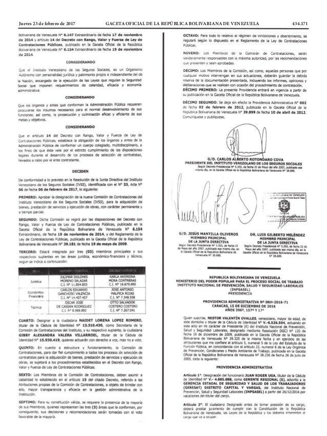 Jueves 23 de febrero de 2017 GACETA OFICIAL DE LA REPÚBLICA BOLIVARIANA DE VENEZUELA 434.171