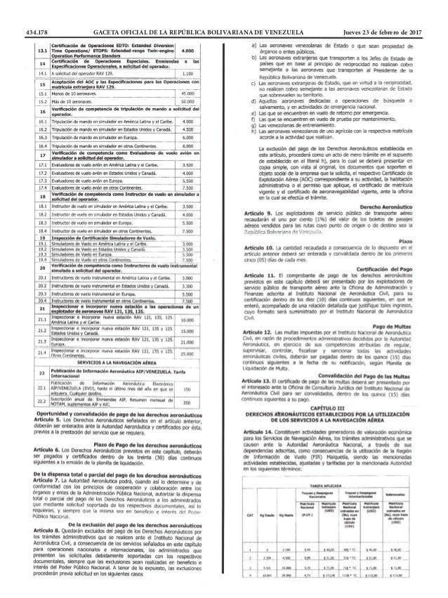 434.178 GACETA OFICIAL DE LA REPÚBLICA BOLIVARIANA DE VENEZUELA Jueves 23 de febrero de 2017