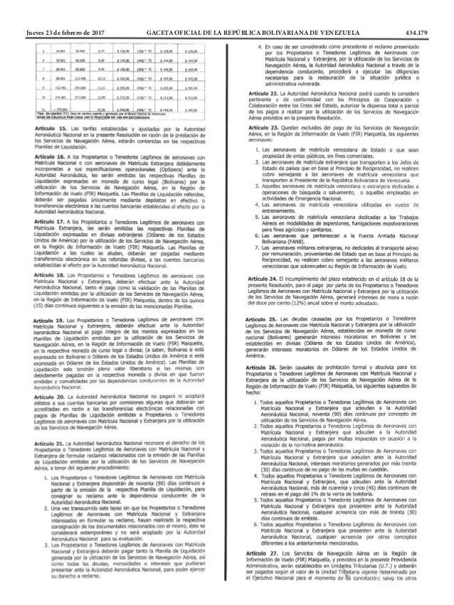 Jueves 23 de febrero de 2017 GACETA OFICIAL DE LA REPÚBLICA BOLIVARIANA DE VENEZUELA 434.179