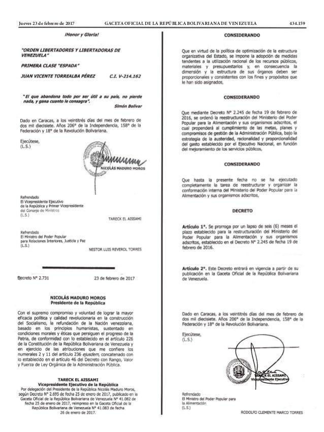 Jueves 23 de febrero de 2017 GACETA OFICIAL DE LA REPÚBLICA BOLIVARIANA DE VENEZUELA 434.159